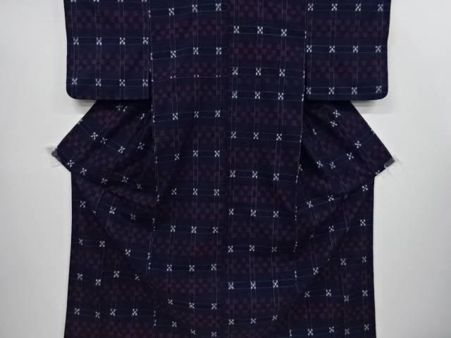 【IDnet】 格子に市松模様織り出し手織り真綿紬着物【リサイクル】【中古】【着】