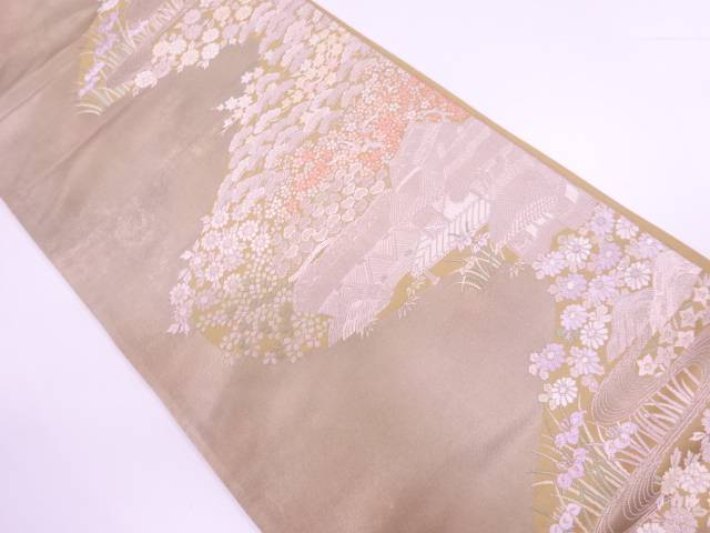【IDnet】 家屋に秋草模様織出し袋帯【リサイクル】【中古】【着】