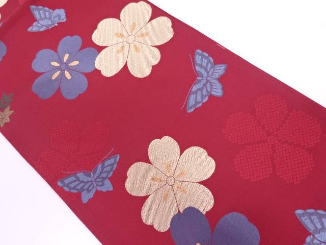 【IDnet】 蝶に花模様織出し袋帯【リサイクル】【中古】【着】