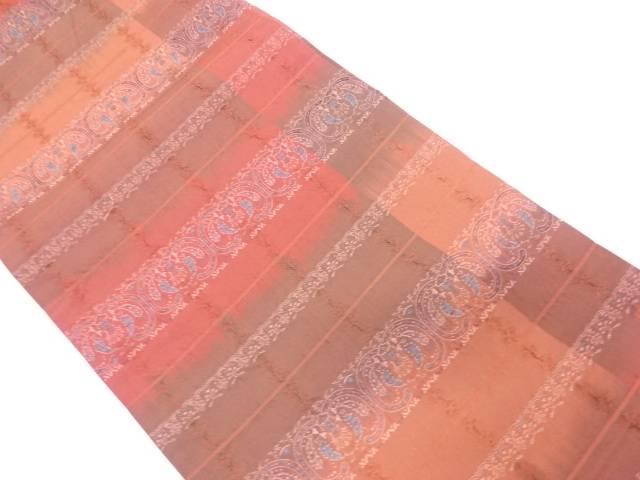 【IDnet】 横段に抽象模様織出し全通袋帯【リサイクル】【中古】【着】