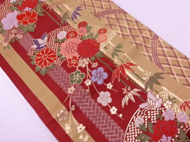 【IDnet】 地紙に草花・蝶模様織出し袋帯【リサイクル】【中古】【着】