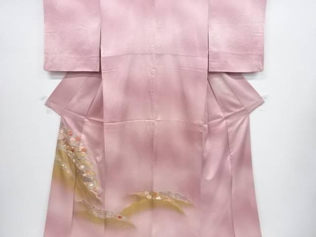 【IDnet】 雪輪に鴛鴦・菖蒲模様刺繍暈し一つ紋色留袖【リサイクル】【中古】【着】