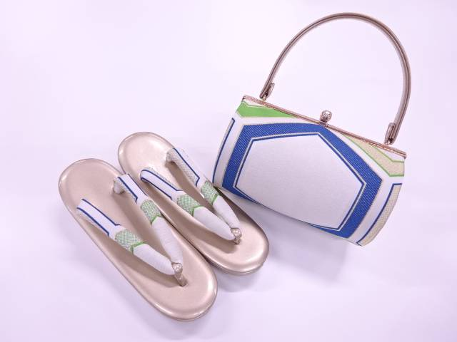 【IDnet】 亀甲模様織出し振袖用和装バッグ・草履セット(草履フリーサイズ)【新品】【着】