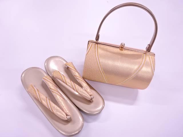【IDnet】 抽象模様織出し振袖用和装バッグ・草履セット(草履フリーサイズ)【新品】【着】