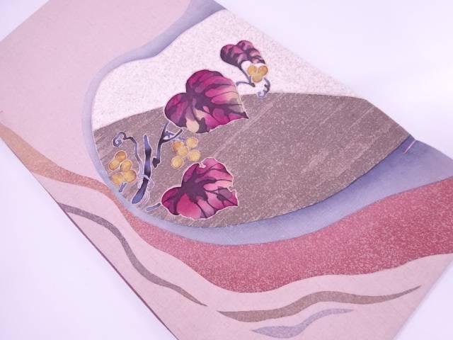 【IDnet】 未使用品 手織り紬金彩葡萄唐草模様袋帯【リサイクル】【着】