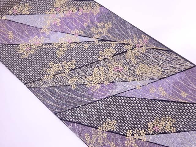 【IDnet】 草花に抽象模様織出し袋帯【リサイクル】【中古】【着】