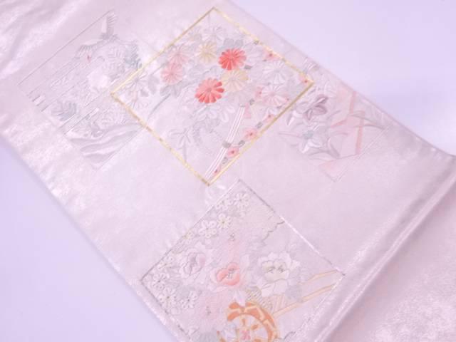 【IDnet】 蘇州刺繍色紙に花籠・花鳥模様袋帯【リサイクル】【中古】【着】