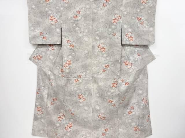 【IDnet】 未使用品 雪輪に花模様織り出し手織り節紬着物【リサイクル】【着】
