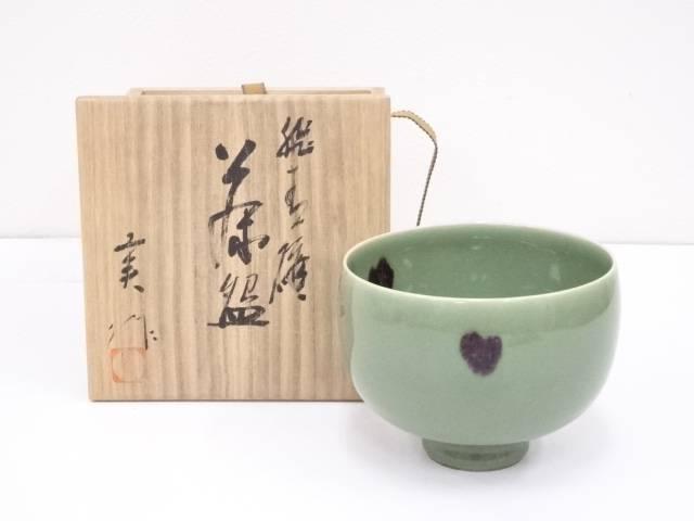 【IDnet】 京焼 加藤実造 飛青磁茶碗【中古】【道】