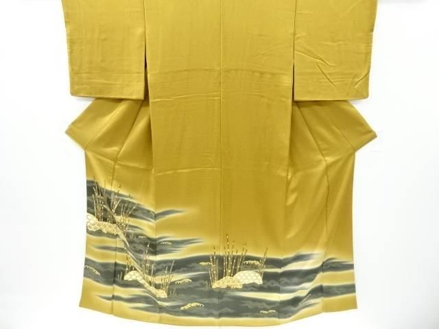 【IDnet】 金彩蛇籠に木賊模様刺繍三つ紋色留袖(比翼付き)【リサイクル】【中古】【着】