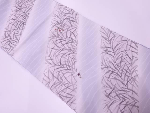 【IDnet】 未使用品 斜め縞に草花模様刺繍暈し袋帯【リサイクル】【着】