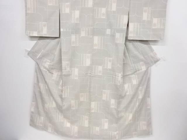 【IDnet】 未使用品 幾何学に遠州椿模様織り出し本塩沢100亀甲着物【リサイクル】【着】