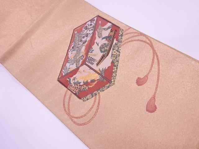 【IDnet】 文箱に時代人物・松竹梅模様織出し袋帯【リサイクル】【中古】【着】