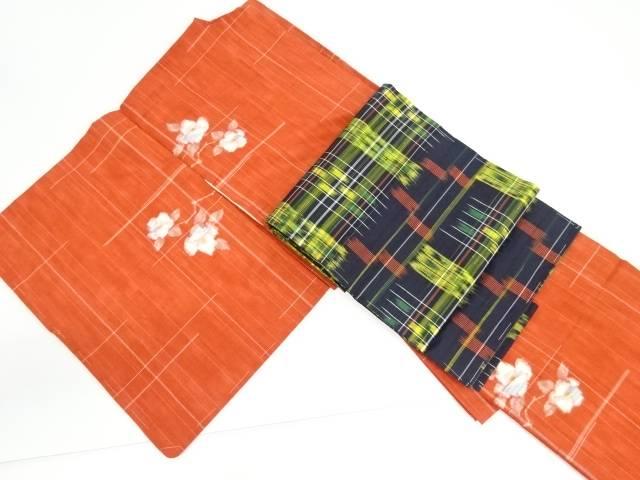 【IDnet】 未使用品 枝椿模様織り出し手織り真綿紬越後絵絣着物・名古屋帯セット【リサイクル】【着】
