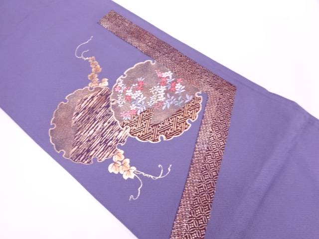 【IDnet】 金彩雪輪に草花模様刺繍袋帯【リサイクル】【中古】【着】