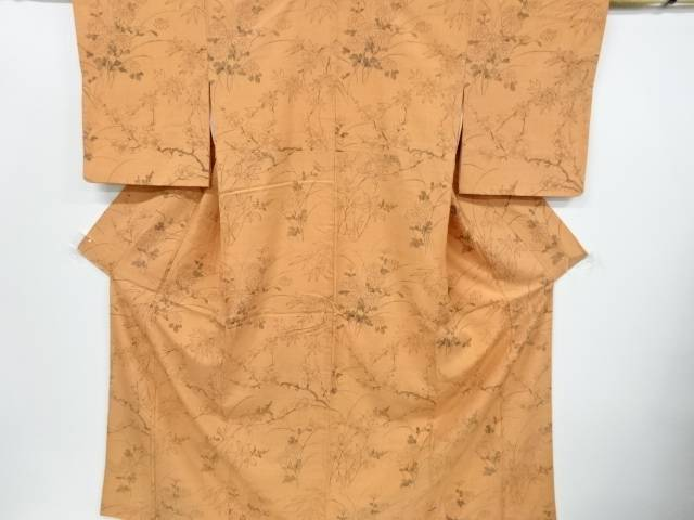 【IDnet】 手描き菊に枝梅模様手織り真綿紬付け下げ着物【リサイクル】【中古】【着】
