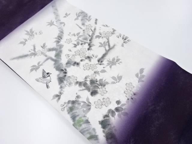 【IDnet】 未使用品 銀通し手描き枝桜に小鳥模様名古屋帯【リサイクル】【着】