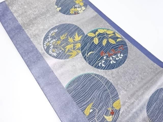 【IDnet】 丸紋に草花模様織り出し袋帯【リサイクル】【中古】【着】