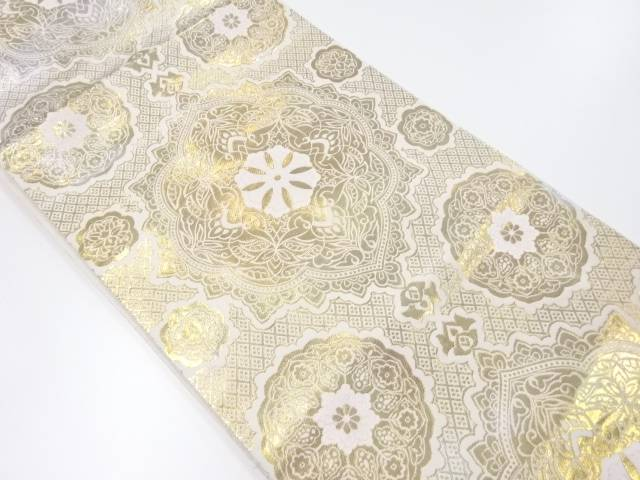 【IDnet】 服部織物製 こはく錦華紋織り出し袋帯【リサイクル】【中古】【着】