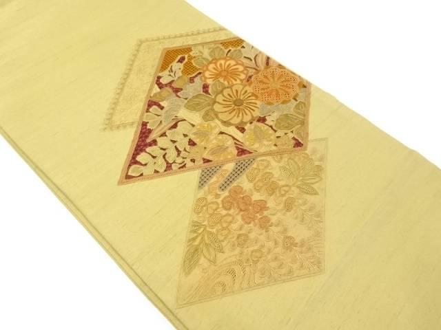 【IDnet】 手織り節紬汕頭蘇州刺繍菱に花模様袋帯【リサイクル】【中古】【着】