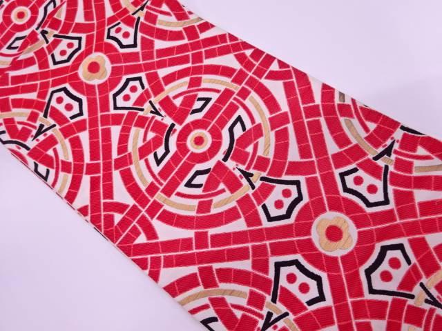 【IDnet】 川島織物製 抽象模様織出し袋帯(着用可)【アンティーク】【中古】【着】