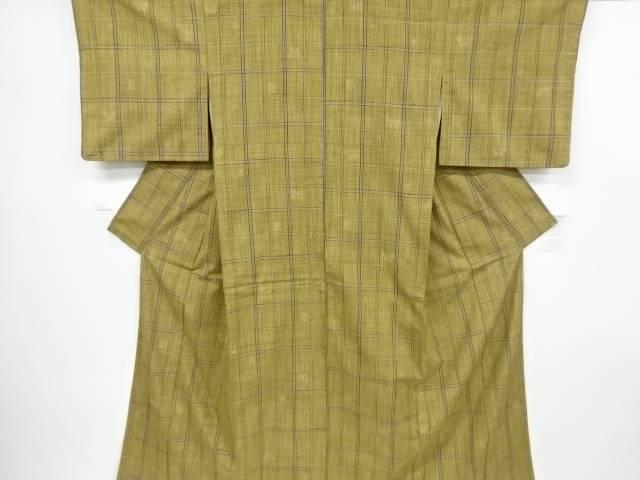 【IDnet】 格子に抽象模様織り出し手織り真綿紬着物【リサイクル】【中古】【着】