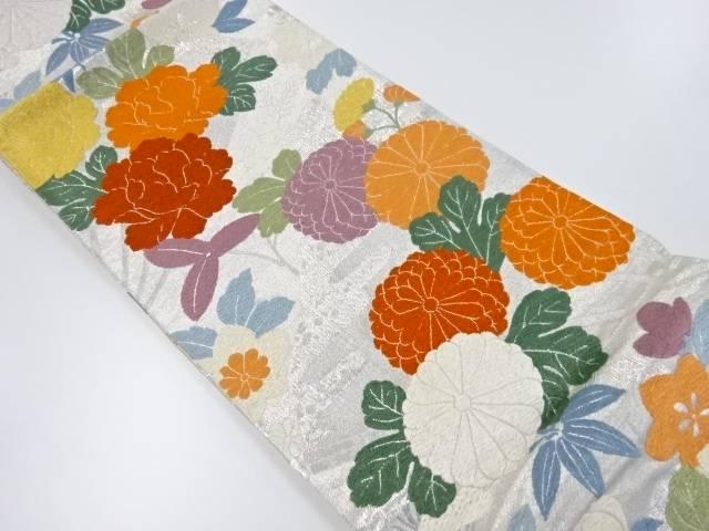 【IDnet】 本唐織牡丹・菊模様織り出し袋帯【リサイクル】【中古】【着】