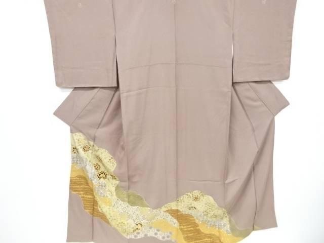 【IDnet】 金彩霞に草花・古典柄刺繍三つ紋色留袖(比翼付き)【リサイクル】【中古】【着】