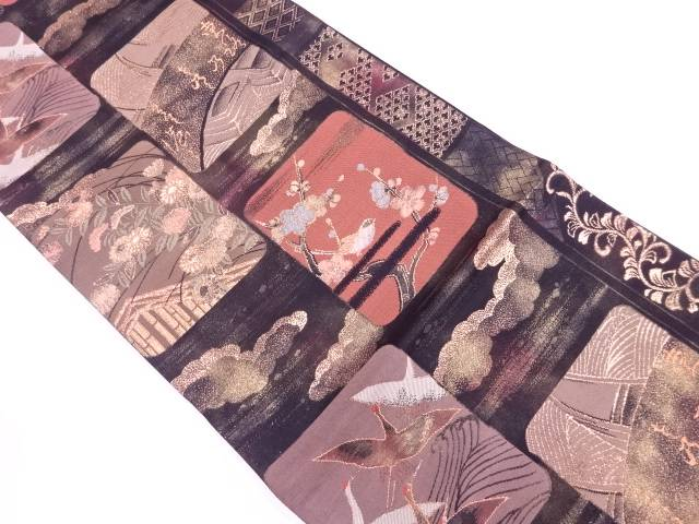 【IDnet】 未使用品 いづくら製 色紙に花鳥模様織出し袋帯(未仕立て)【リサイクル】【着】