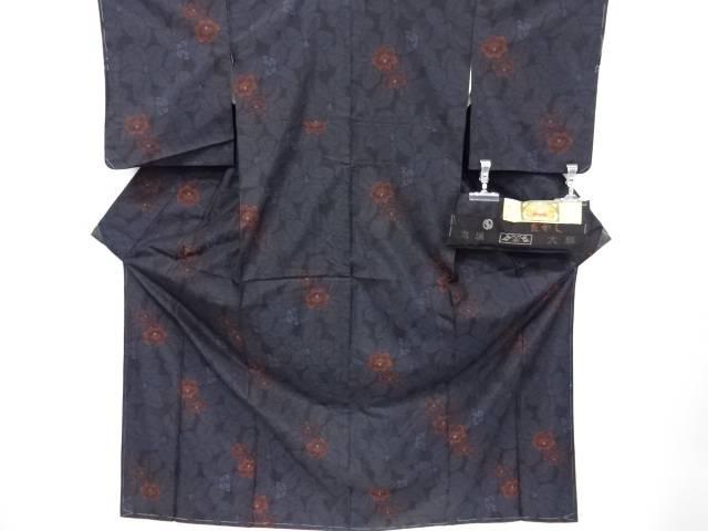 【IDnet】 未使用品 たかし織物製 花模様織り出し本場泥大島紬着物【リサイクル】【着】