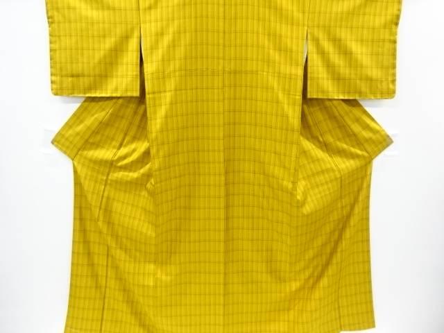 【IDnet】 未使用品 仕立て上がり 本場黄八丈格子織り出し着物(まるまなこ)【着】