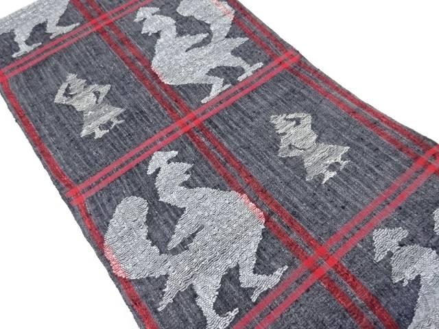 【IDnet】 紗紬すくい織鳥に人物模様織り出し洒落袋帯【リサイクル】【中古】【着】