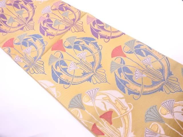 【IDnet】 花に抽象模様織出し袋帯【リサイクル】【中古】【着】