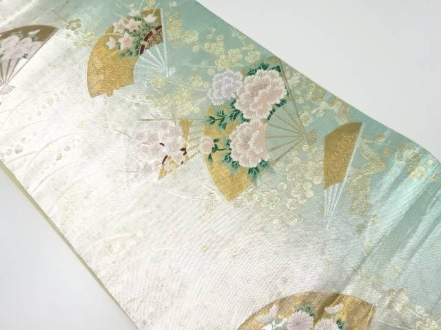 【IDnet】 引き箔花扇模様織り出し袋帯【リサイクル】【中古】【着】