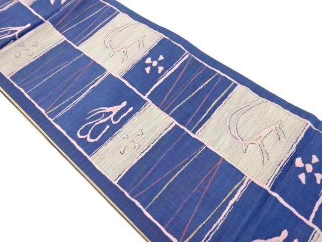 【IDnet】 変わり格子に動物模様織り出し洒落袋帯【リサイクル】【中古】【着】