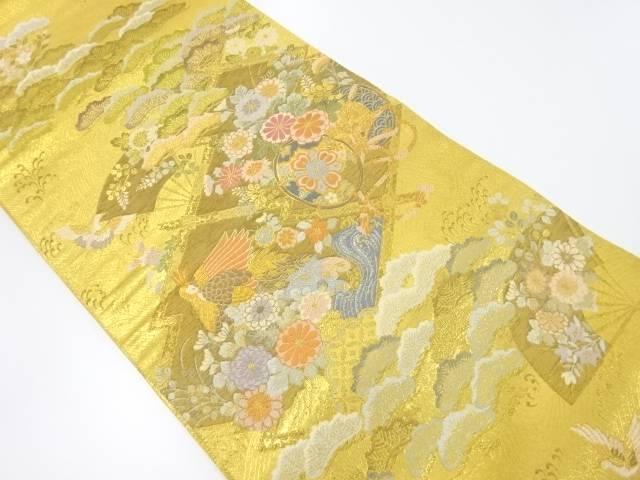 【IDnet】 本金箔孔雀に花鼓模様織り出し袋帯【リサイクル】【中古】【着】
