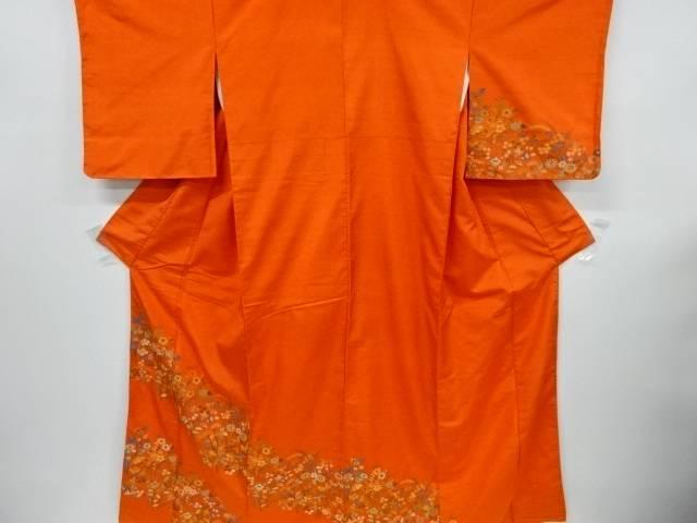 【IDnet】 秋草模様織出手織り節紬訪問着【リサイクル】【中古】【着】