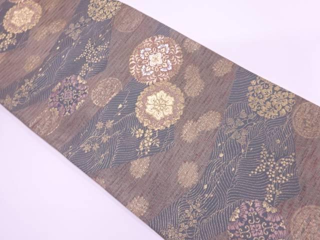 【IDnet】 華紋に秋草模様織出し袋帯【リサイクル】【中古】【着】