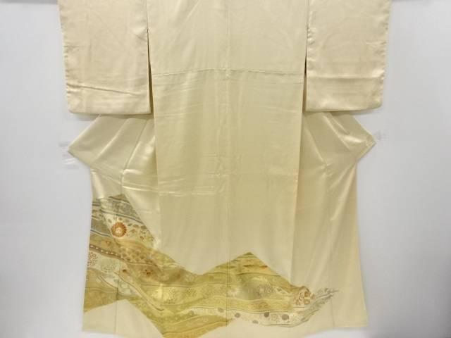 【IDnet】 金彩幾何学に花鳥更紗模様刺繍三つ紋色留袖(比翼付き)【リサイクル】【中古】【着】
