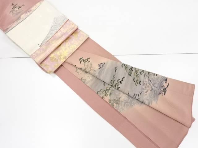 【IDnet】 金彩家屋風景模様訪問着 袋帯セット【リサイクル】【中古】【着】