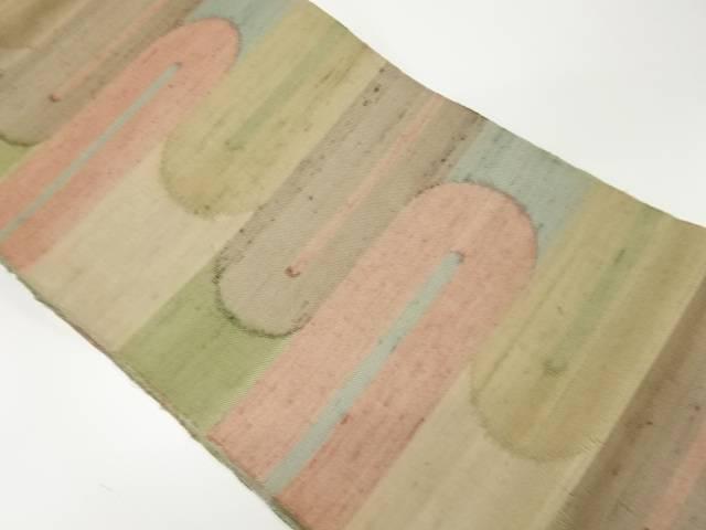 【IDnet】 紗 手織り紬抽象模様織出し袋帯【リサイクル】【中古】【着】