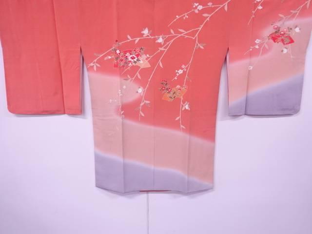 【IDnet】 金彩地紙に草花模様ぼかし絵羽道行コート【リサイクル】【中古】【着】