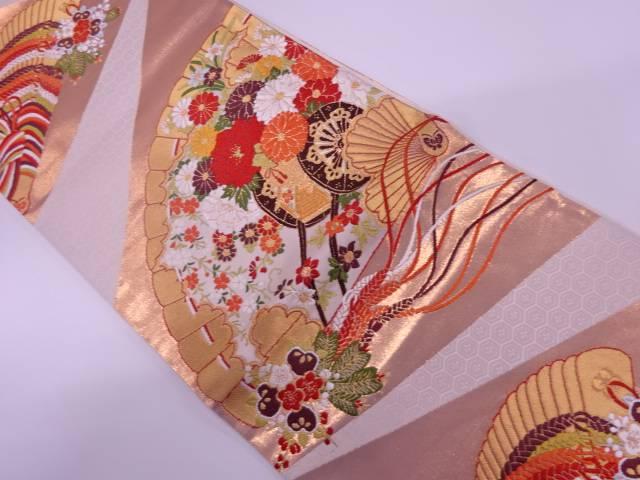 【IDnet】 未使用品 檜扇に花車模様織出し袋帯【リサイクル】【中古】【着】