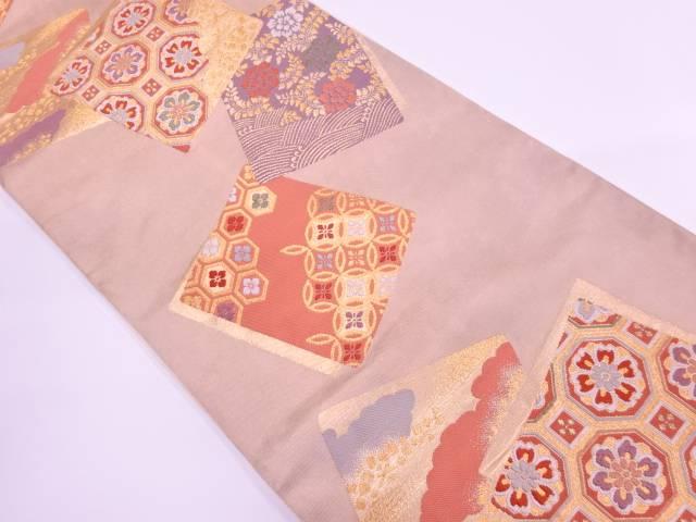 【IDnet】 色紙に草花・古典柄模様織出し袋帯【リサイクル】【中古】【着】