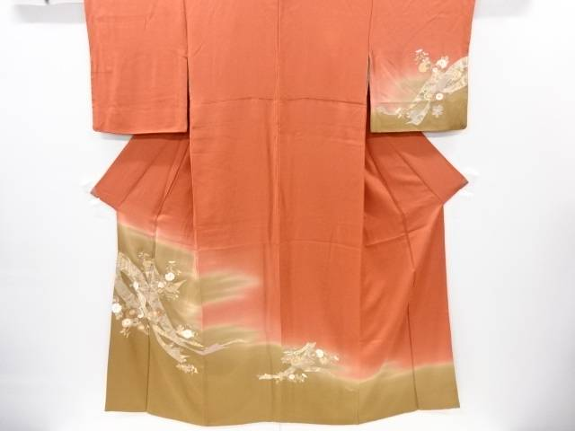 【IDnet】 汕頭蘇州刺繍熨斗に鶴・菊模様訪問着【リサイクル】【中古】【着】