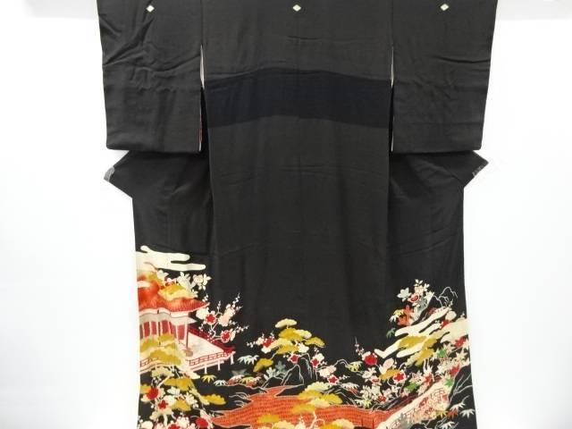 【IDnet】 錦紗屋敷に松竹梅模様刺繍五つ紋引きずり(比翼付き)【アンティーク】【中古】【着】