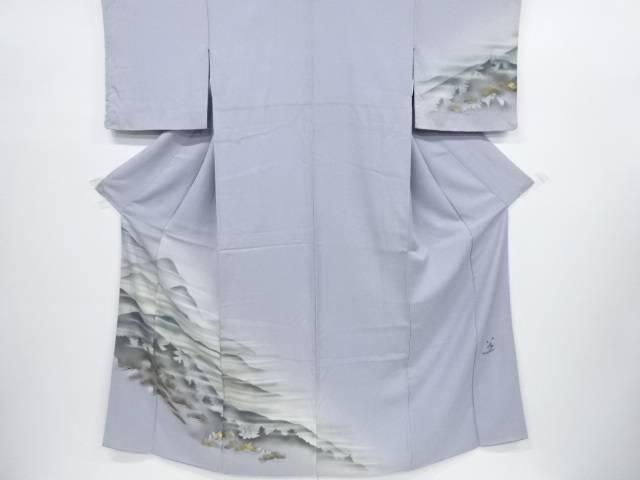 【IDnet】 作家物 遠山に笠松・寺院風景模様訪問着(重ね衿付き)【リサイクル】【中古】【着】