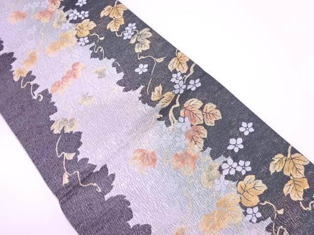 【IDnet】 蔦の葉に花模様織出し袋帯【リサイクル】【中古】【着】