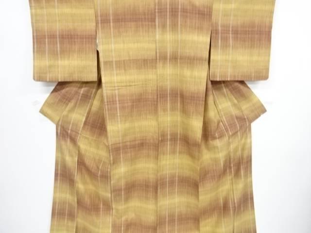 【IDnet】 格子模様織出手織り真綿紬着物【リサイクル】【中古】【着】