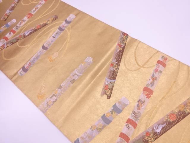 【IDnet】 笛に動物・花鳥模様織出し袋帯【リサイクル】【中古】【着】